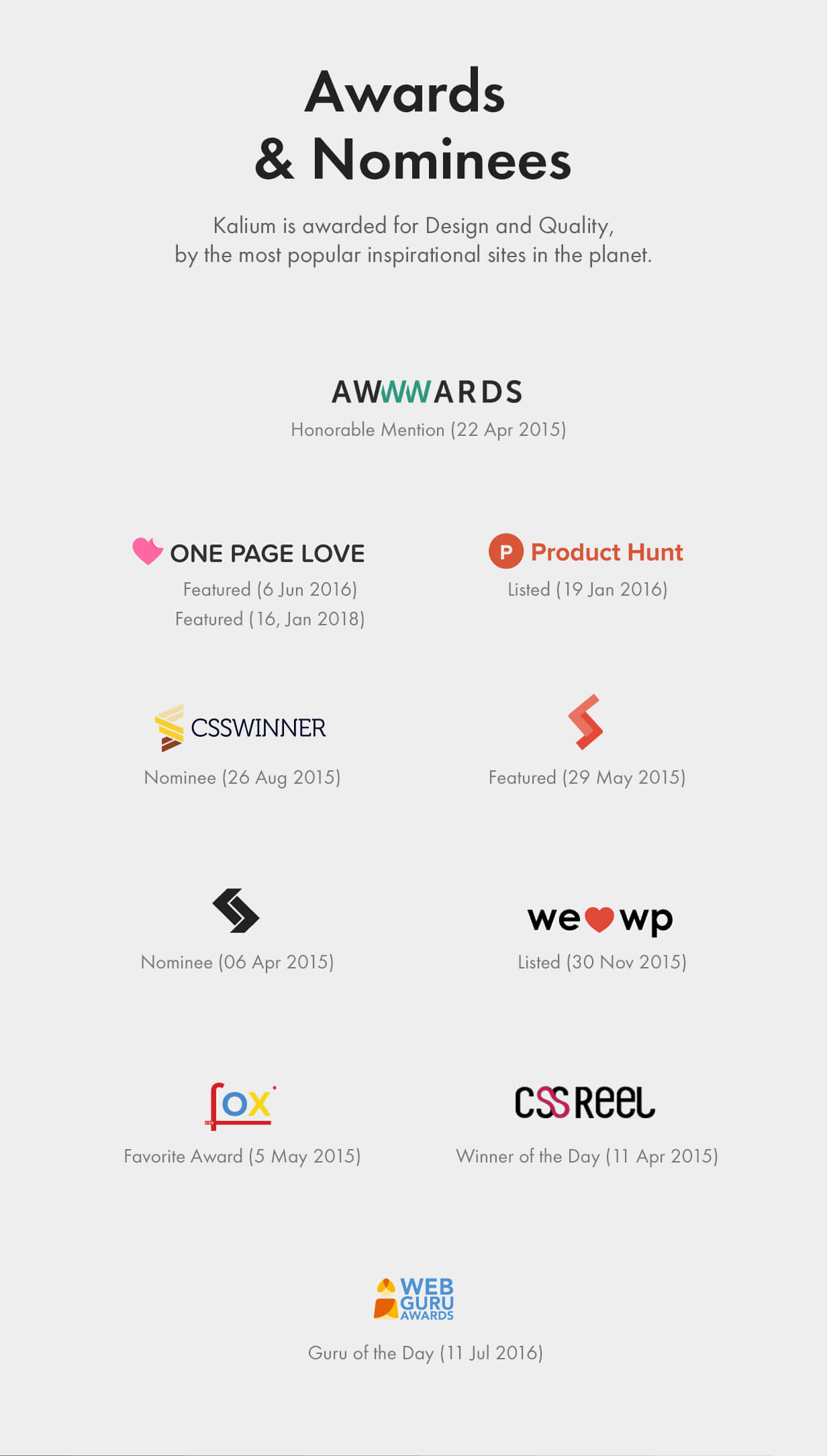 Awards and Nominees