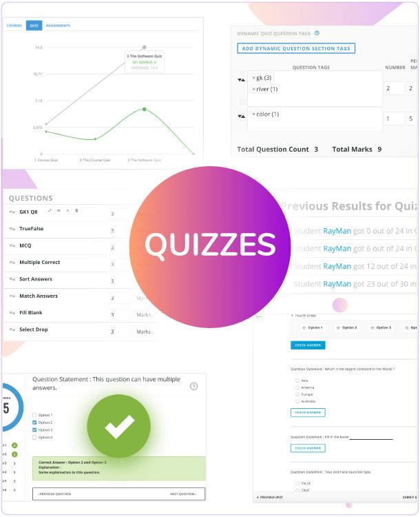 WPLMS Quiz features