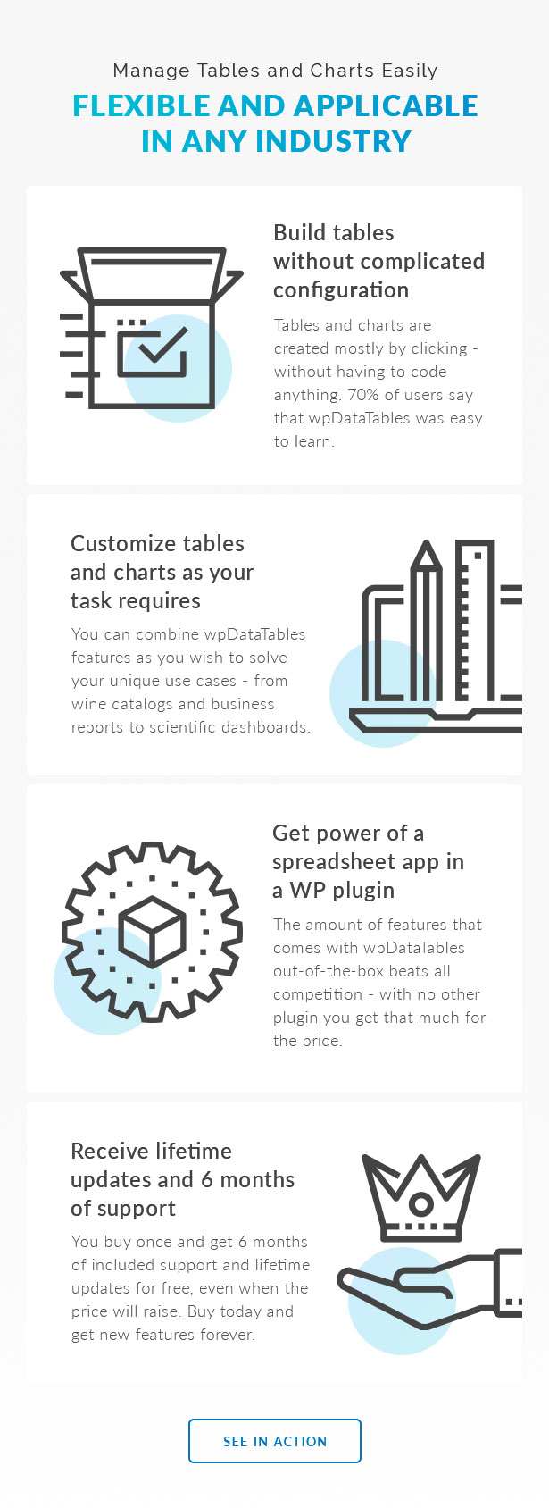 wpDataTables is a #1 Tables And Charts Plugin for WordPress