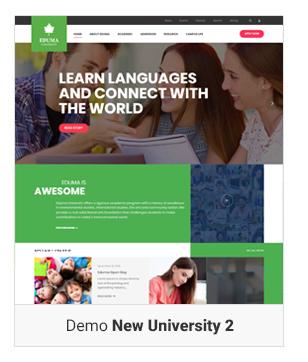 Education WordPress theme - Demo New University 2