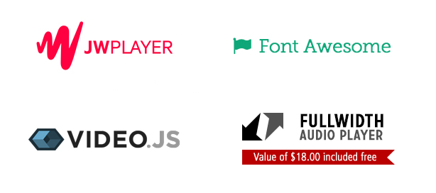 JWPlayer, FontAwesome, Video.JS, Fullwidth Audio Player