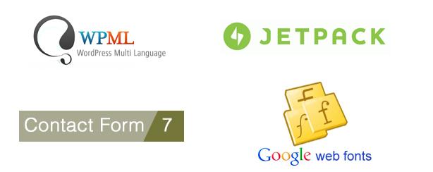 WPML, JetPack, Contact Form 7, Google Web Fonts