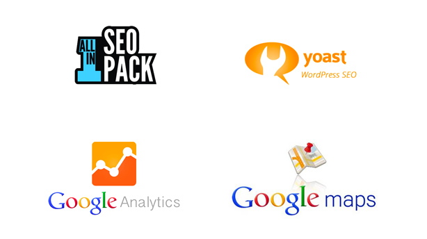 AIOSEO, Yoast WordPress SEO, Google Analytics, Google Maps