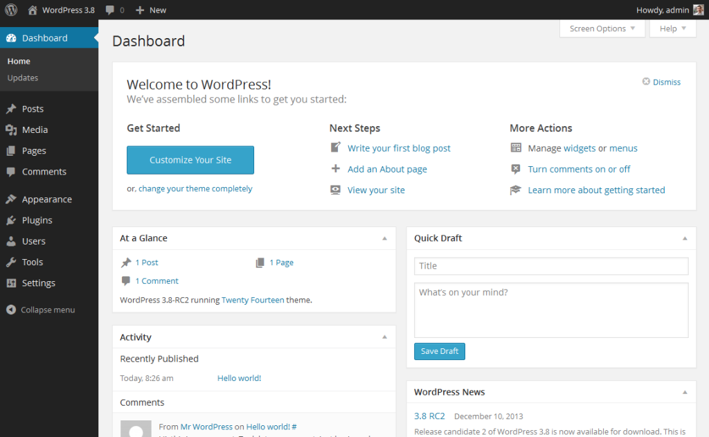 WordPress dashboard (backend)