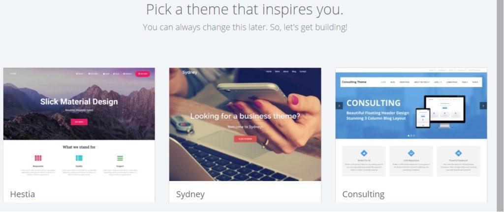 Bluehost WordPress select theme