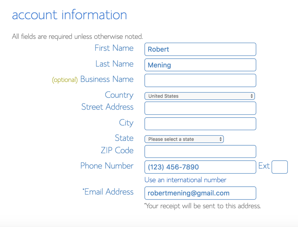 Your account information