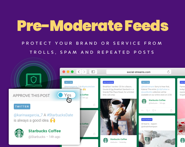 WordPress Social Stream approval system