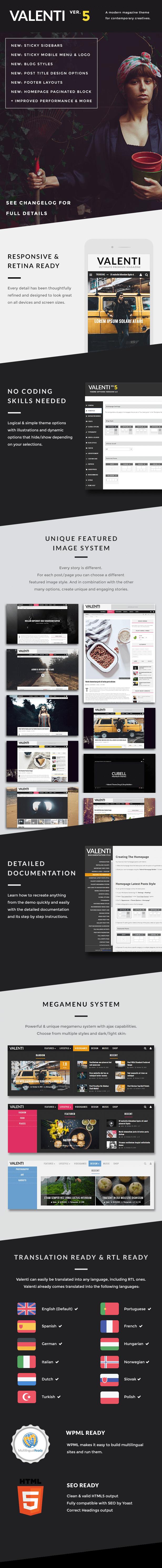 Valenti wordpress magazine theme for 2015 features