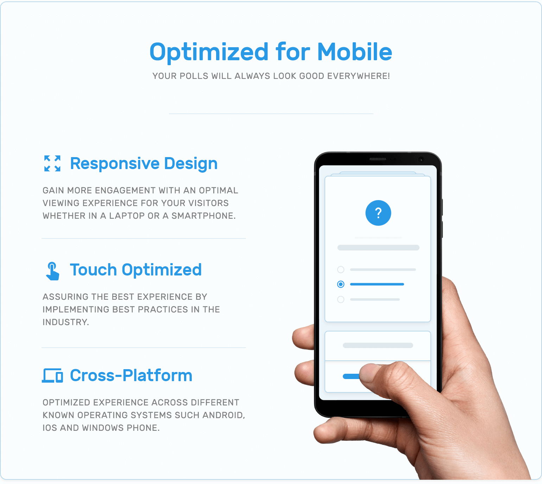 Mobile optimization, responsive design, touch optimization and cross platform support in TotalPoll WordPress poll plugin.