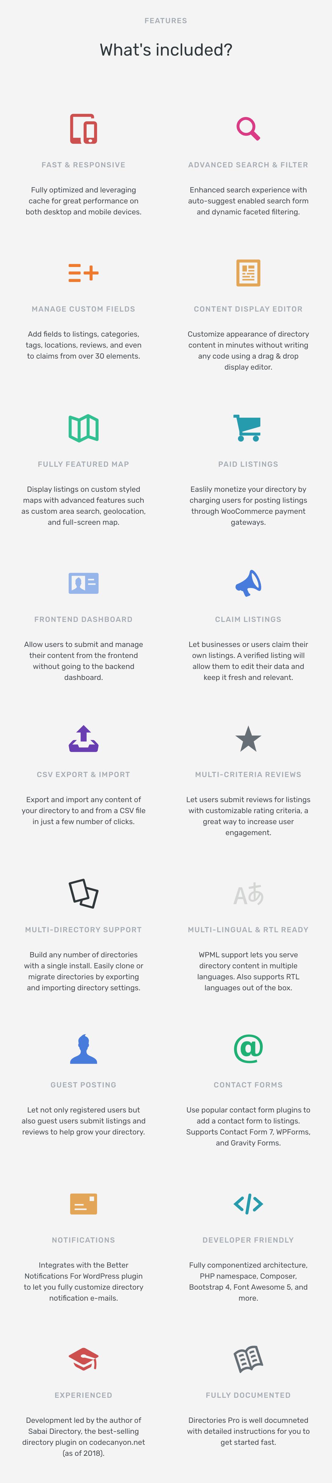 Directories Pro features