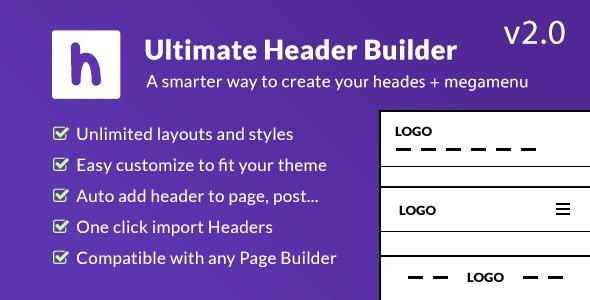 Ultimate Header Builder - Header & MegaMenu Builder for WordPress - CodeCanyon Item for Sale