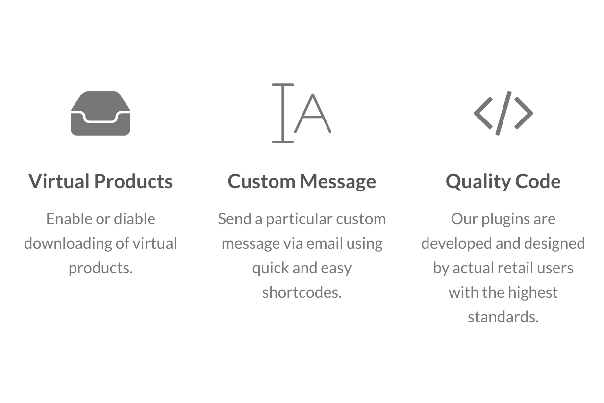 Virtual Products, Custom Message and Quality Code