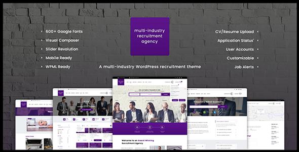 Recruitment Agency - Multi Industry   Responsive WordPress Theme