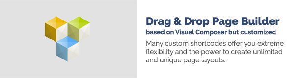 Drag n Drop Page Builder based on Visual Composer but customized Many custom shortcodes offer you extreme flexibility and the power to create unlimited and unique page layouts.