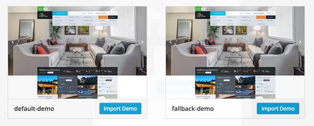 One click demo importer