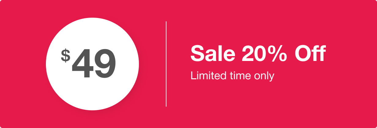 Sale 20% off.  Hurry up!