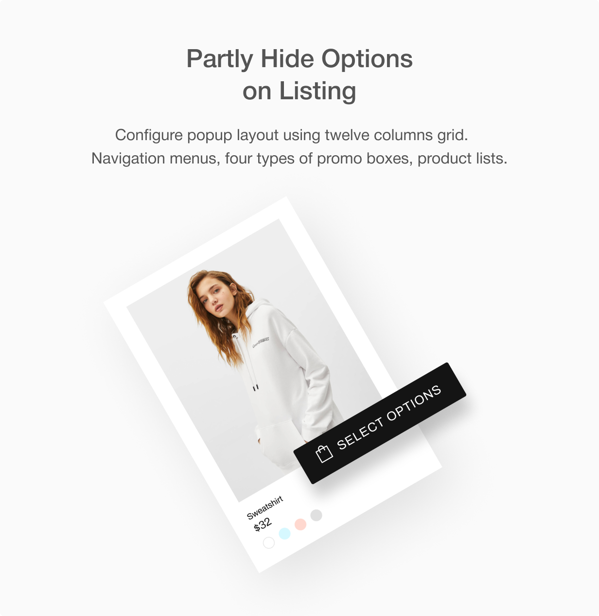 Hide some product options on listing. Change Add to cart button to Select options button