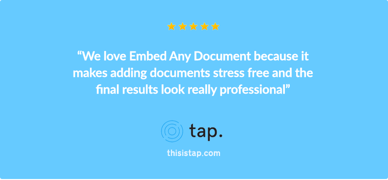 Embed Any Document Review by Tap WordPress Hosting