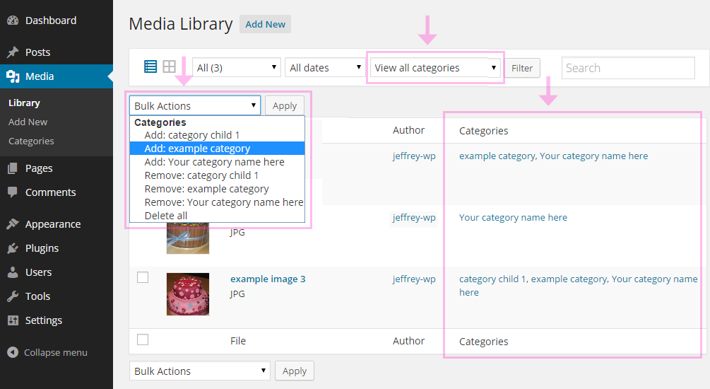 Filter by category in the media library