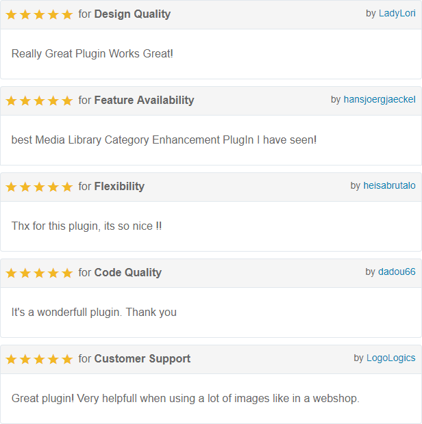 Reviews Media Library category plugin for WordPress