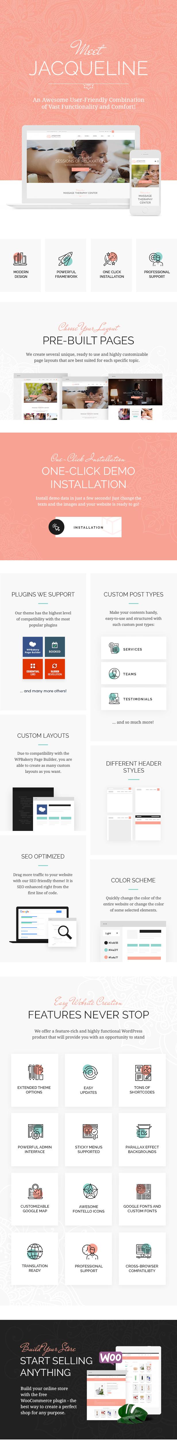 Spa & Massage Salon WordPress Theme features