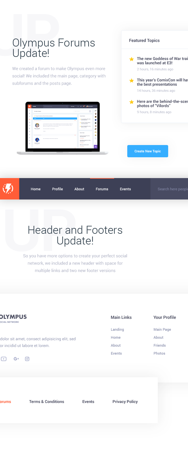Forum layouts and standard header + footer