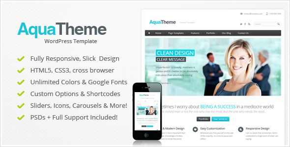 Aqua - Responsive Multi-Purpose Wordpress Template