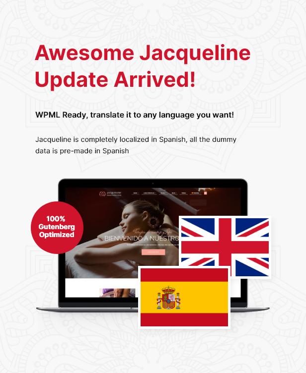 Jacqueline spanish localization + Gutenberg update
