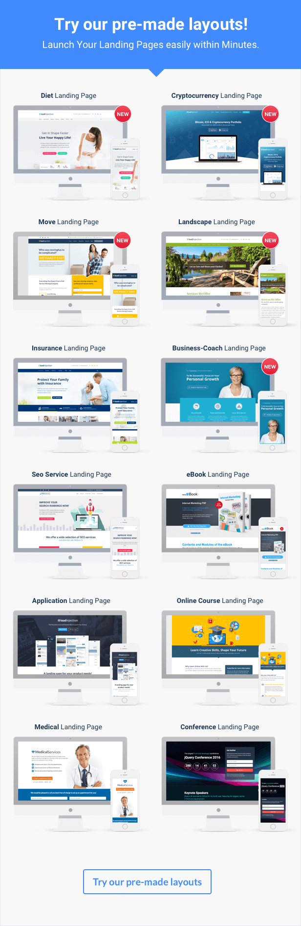 Pre made Layouts: Insurance, Seo Agency, eBook, Online Course, Application, Conference, Medical Service