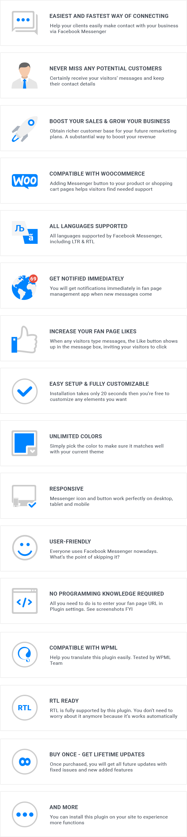 Facebook Messenger for WordPress Features