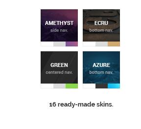 16 ready-made beautiful Skins.