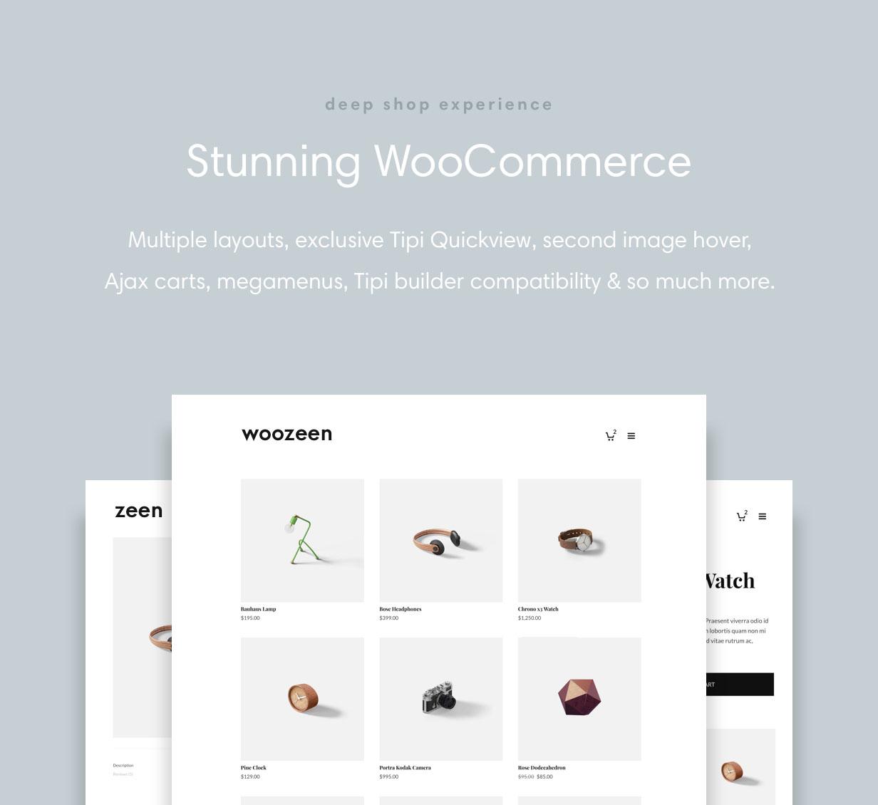Zeen has deep WooCommerce shop Integration