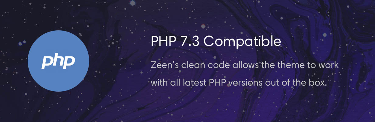 Zeen news theme is compatible with PHP 7.3