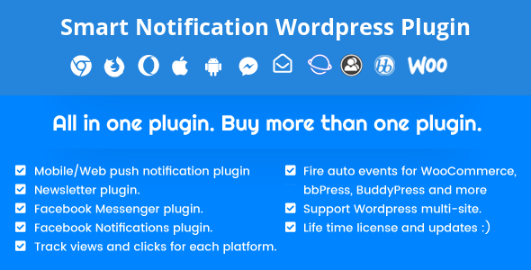 Smart Notification Wordpress Plugin. Web & Mobile Push, FB Messenger, FB Notifications & Newsletter.