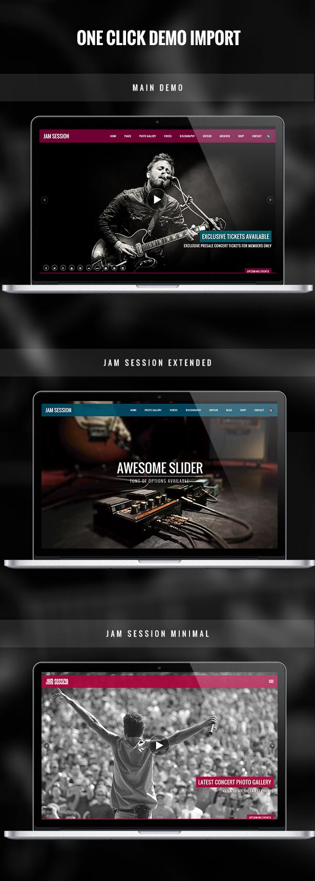 Music WordPress Theme - JamSession - One Click Demo Import