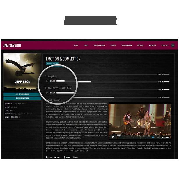 WordPress Music Theme - JamSession - audio player