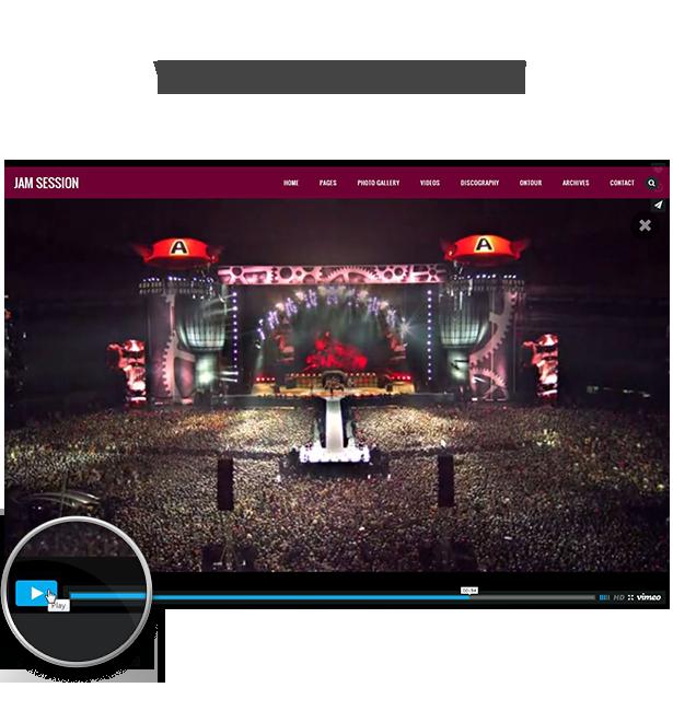 WordPress Music Theme - JamSession - YouTube Vimeo