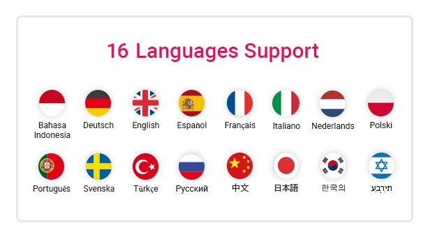 16 Languages Included