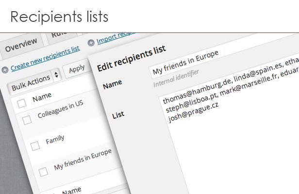 Recipients lists