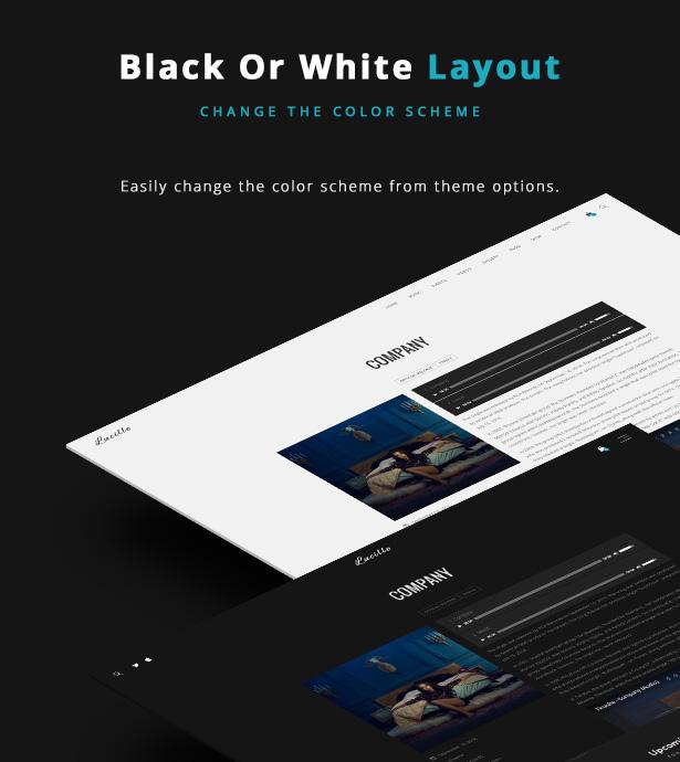 Lucille Music WordPress Theme - Black or White Color Scheme