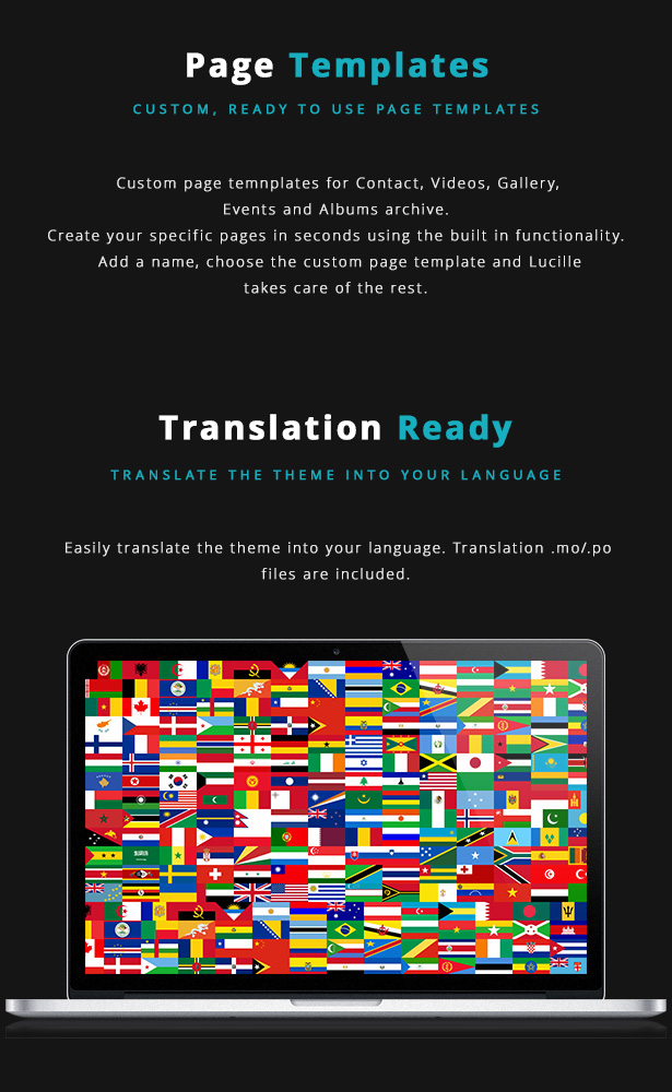 Lucille Music WordPress Theme - Custom Page Templates and Translation Ready