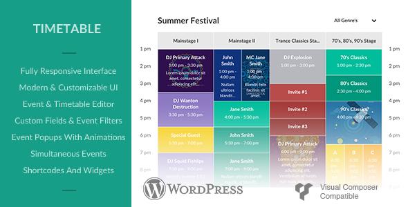 Responsive Timetable for Wordpress