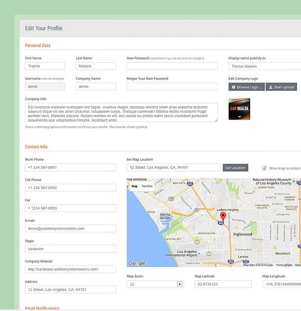 wordpress theme dealer profile