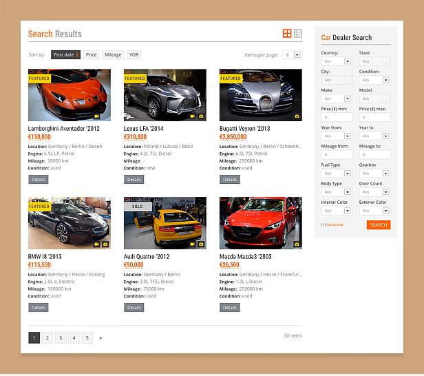 wordpress car theme search