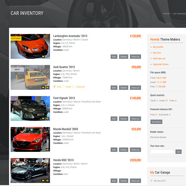 car listing sold and featured labels
