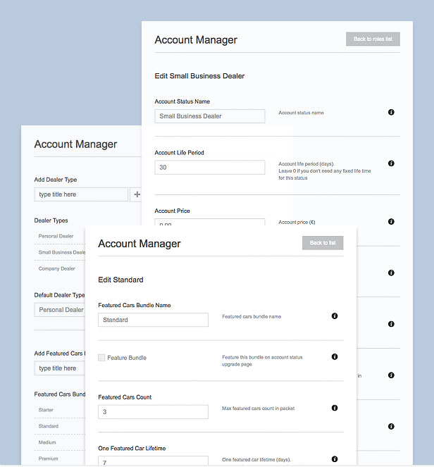 car theme account manager