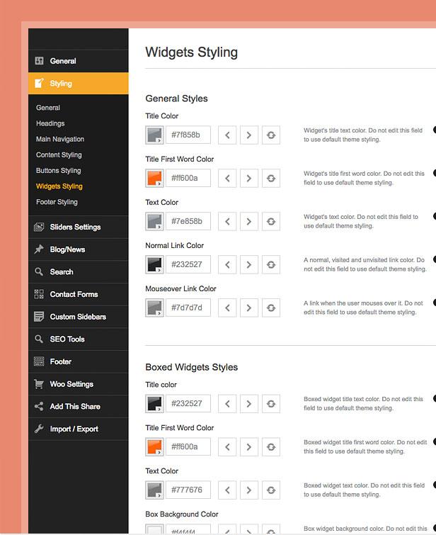 theme styling options