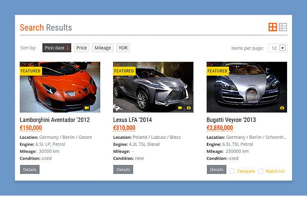 car dealer wordpress theme filtering
