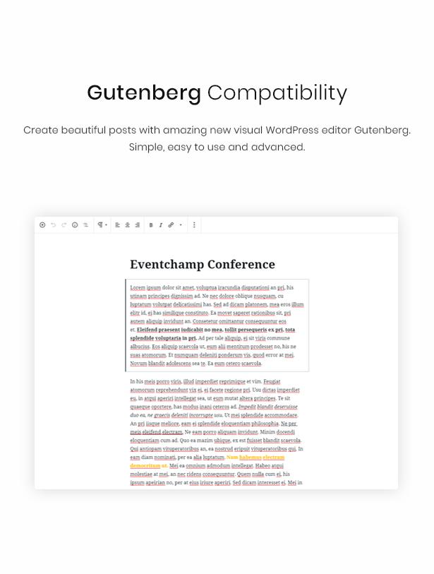 WordPress event theme gutenberg