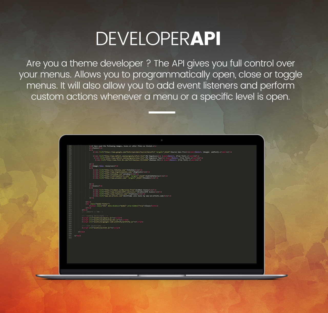 Slick Menu - Developer API